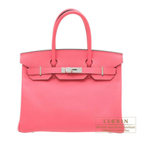 Hermes Personal Birkin bag 30 Rose azalee/ Gris mouette Epsom leather Silver hardware