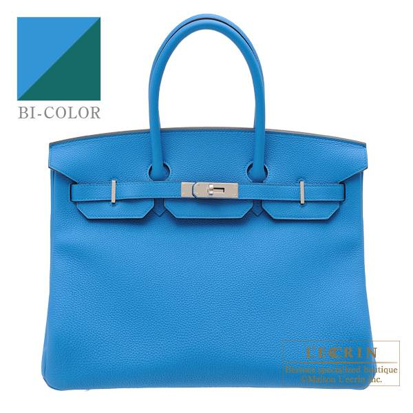 Hermes Birkin Verso bag 35 Blue zanzibar/ Malachite Togo leather Silver hardware
