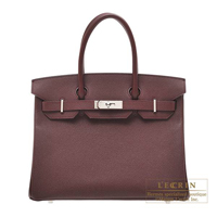Hermes Birkin bag 30 Bordeaux Epsom leather Silver hardware