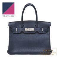 Hermes Birkin Verso bag 30 Blue nuit/ Rose purple Clemence leather Silver hardware