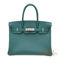 Hermes Birkin bag 30 Malachite Togo leather Silver hardware