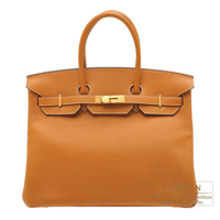 Hermes Birkin bag 35 Toffee Clemence leather Gold hardware