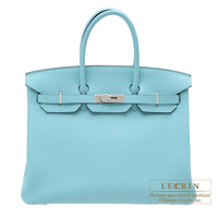Hermes Birkin bag 35 Blue atoll Clemence leather Silver hardware