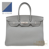 Hermes Birkin Verso bag 35 Gris mouette/ Blue agate Togo leather Silver hardware