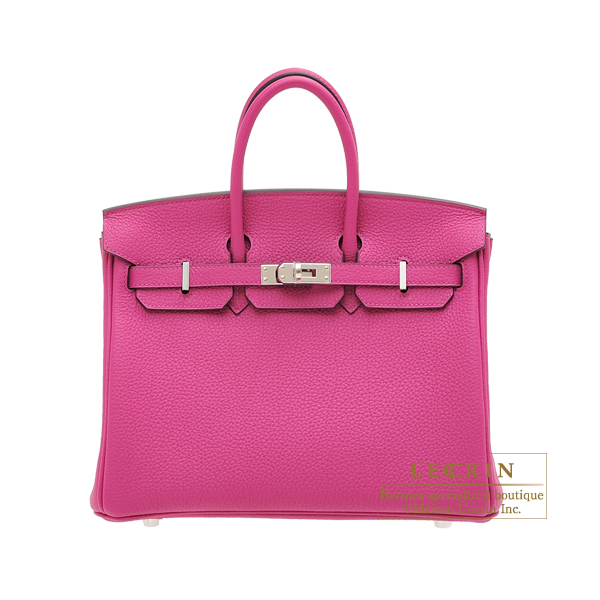 Hermes Birkin bag 25 Rose purple Togo leather Silver hardware