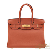 Hermes Birkin bag 30 Cuivre Togo leather Gold hardware