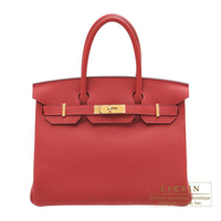 Hermes Birkin bag 30 Rouge vif Togo leather Gold hardware