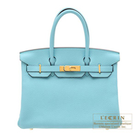 Hermes Birkin bag 30 Blue atoll Clemence leather Gold hardware