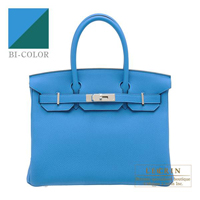 Hermes Birkin Verso bag 30 Blue zanzibar/ Malachite Togo leather Silver hardware