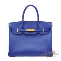 Hermes Birkin bag 30 Blue electric Epsom leather Gold hardware
