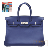 Hermes Birkin bag 35 Sea,Surf and Fun Blue saphir Novillo leather/Toile H Silver hardware