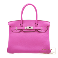 Hermes Birkin bag 30 Magnolia Clemence leather Silver hardware