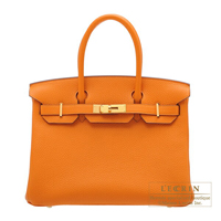 Hermes Birkin bag 30 Apricot Clemence leather Gold hardware
