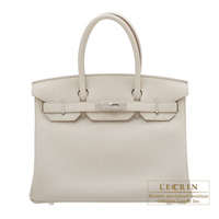 Hermes Birkin bag 30 Beton Clemence leather Silver hardware