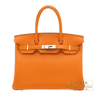 Hermes Birkin bag 30 Apricot Clemence leather Silver hardware