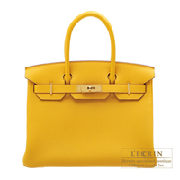 Hermes Birkin bag 30 Jaune ambre Togo leather Gold hardware