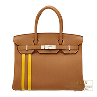 Hermes Birkin Officier 30 Gold/ Jaune ambre Togo leather/ Swift leather Silver hardware