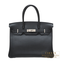 Hermes Birkin bag 30 Black Novillo leather Silver hardware