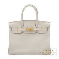 Hermes Birkin bag 30 Beton Clemence leather Gold hardware