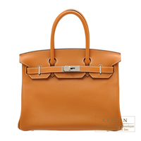 Hermes Birkin bag 30 Toffee Novillo leather Silver hardware