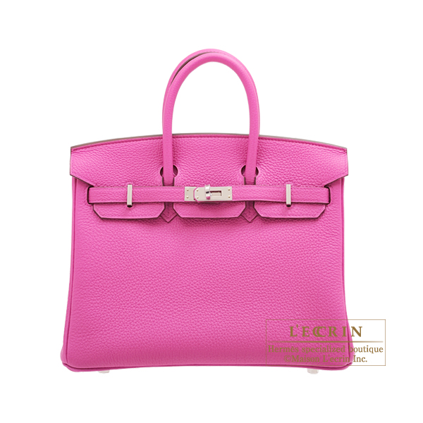 Hermes Birkin bag 25 Magnolia Togo leather Silver hardware