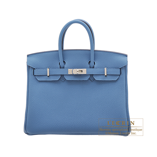 Hermes Birkin bag 25 Azur Togo leather Silver hardware