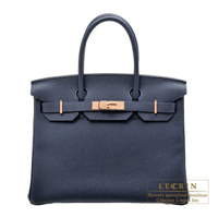 Hermes Birkin bag 30 Blue nuit Togo leather Rose gold hardware
