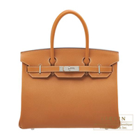 Hermes Birkin bag 30 Toffee Epsom leather Silver hardware