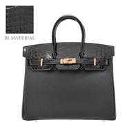 Hermes Birkin Touch bag 25 Black Togo leather/ Niloticus crocodile skin Rose gold hardware