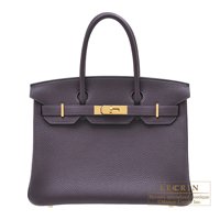 Hermes Birkin bag 30 Raisin Clemence leather Gold hardware