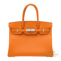 Hermes Birkin bag 30 Apricot Epsom leather Silver hardware