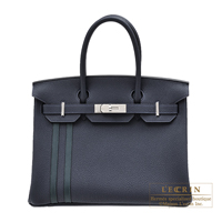 Hermes Birkin Officier 30 Blue nuit/ Vert cypres Togo leather/ Swift leather Silver hardware
