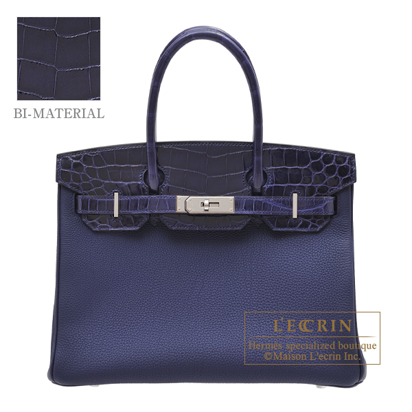 Hermes Birkin Touch bag 30 Blue encre Togo leather/ Niloticus Crocodile skin Silver hardware