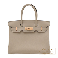 Hermes Birkin bag 30 Gris tourterelle Togo leather rose gold hardware