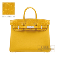 Hermes Birkin Touch bag 25 Jaune ambre Togo leather/ Niloticus Crocodile skin Silver hardware
