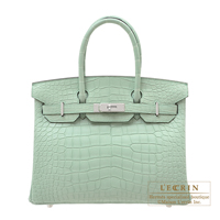 Hermes Birkin bag 30 Vert d'eau Matt alligator crocodile skin Silver hardware