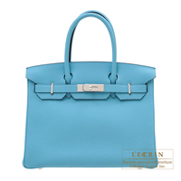 Hermes Birkin bag 30 Blue du nord Togo leather Silver hardware