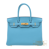 Hermes Birkin bag 30 Blue du nord Togo leather Gold hardware