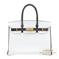 Hermes Personal Birkin bag 30 White/Black Clemence leather Gold hardware