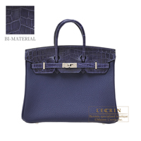 Hermes Birkin Touch bag 25 Blue encre Togo leather/ Niloticus Crocodile skin Silver hardware