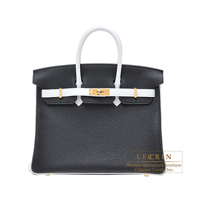 Hermes Personal Birkin bag 25 Black/White Clemence leather Gold hardware