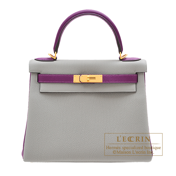 Hermes Personal Kelly bag 28 Retourne Gris mouette/ Anemone Togo leather Matt gold hardware