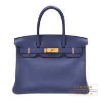 Hermes Birkin bag 30 Blue saphir Novillo leather Gold hardware