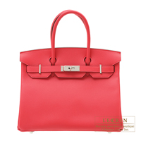 Hermes Birkin bag 30 Rose extreme Epsom leather Silver hardware