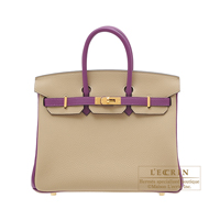 Hermes Personal Birkin bag 25 Trench/Anemone Togo leather Gold hardware