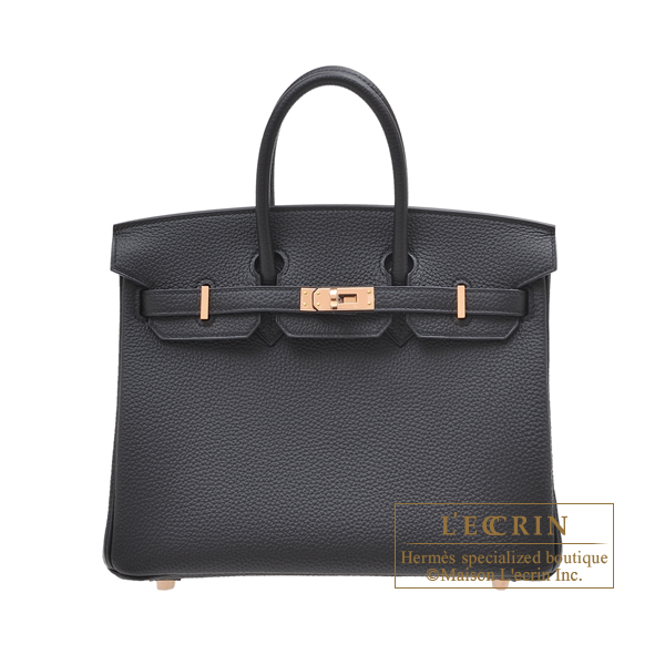Hermes Birkin bag 25 Black Togo leather Rose gold hardware
