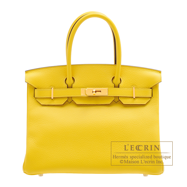 Hermes Birkin bag 30 Jaune de naples Novillo leather Gold hardware