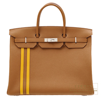 Hermes Birkin Officier 40 Gold/ Jaune ambre Togo leather/ Swift leather Silver hardware