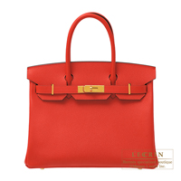 Hermes Birkin bag 30 Rouge coeur Epsom leather Gold hardware
