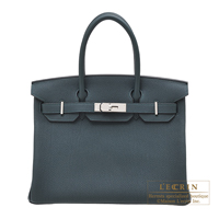 Hermes Birkin bag 30 Vert cypres Togo leather Silver hardware